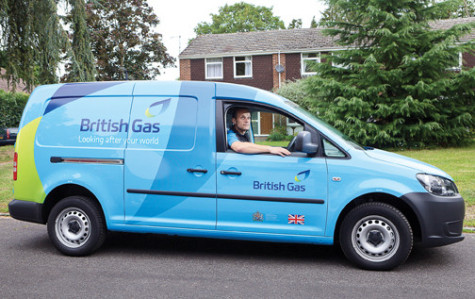 British Gas engineer visiting customer's home / stock pictures
