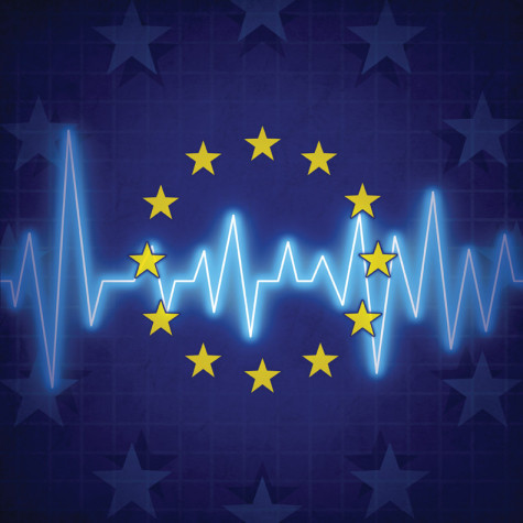 Europe crisis concept and European union challenges symbol with an ECG or EKG monitor lifeline over a flag icon as a metaphor for political relationships and economic health issues. risks