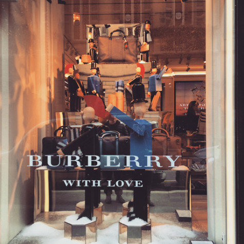 Milan, Italy  - December 22, 2014: Christmas Decorations on Burberry window display, Milan