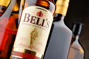 Poznan, Poland - April 20, 2016: The highest selling whisky in the UK, Bell's is a brand of blended Scotch originally produced by Arthur Bell & Sons Ltd. Now owned by Diageo.