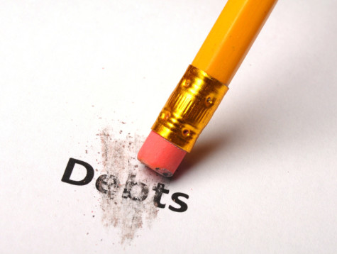 debt or debts concept with eraser showing finance or financial business problem concept