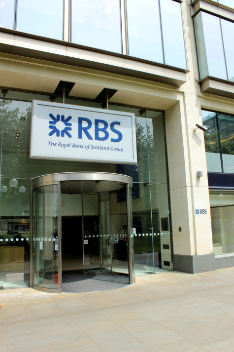 Birmingham, West Midlands, England - July 2, 2014: Royal Bank Of Scotland at St Philip's Place, off Colmore row in the City Centre.